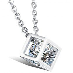 Rhinestone Square Shape Pendant Necklace