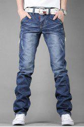 Stylish Personality Zipper Design Pocket Slimming Bleach Wash Straight Leg Men's Jeans - BLUE