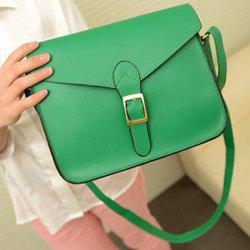 Retro Solid Color and Buckle Design Women's Crossbody Bag -