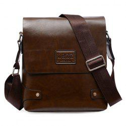 Faux Leather Flap Messenger Bag - DEEP BROWN