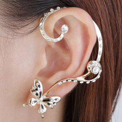 Pair of Alloy Butterfly Rhinestone Inlaid Ear Cuffs