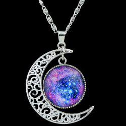 Artificial Gem Moon Round Pendant Necklace - PURPLE