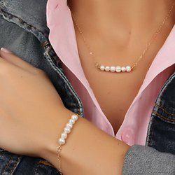 Stylish Faux Pearl Necklace And Bracelet For Women -