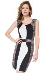 Color Block Leopard Mini Bodycon Dress - LEOPARD