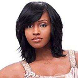 Fashion Medium Straight Black Women's Synthetic Wig With Side Bang -
