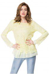 Chic Round Collar Long Sleeve Lace Spliced Women's Blouse -