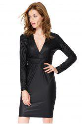 Plunging Neck Faux Leather Long Sleeve Bandage Dress - BLACK