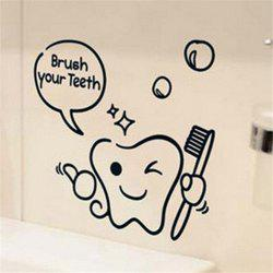 Brush Your Teeth Style Wall Sticker Home Bathroom Decor Wall Decals