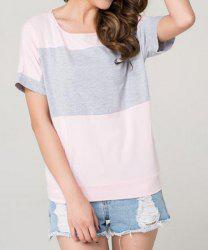 Stylish Scoop Neck Short Sleeve Color Block Women's T-Shirt