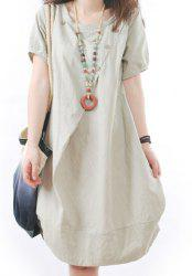 Casual Scoop Neck Short Sleeve Loose-Fitting Women's Dress - WHITE