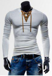 Laconic Personality Color Block V-Neck Slimming Long Sleeves Men's Cotton Blend T-Shirt - WHITE