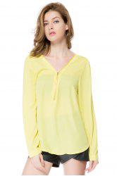 Stylish V-Neck Long Sleeve Zipper Design Chiffon Solid Color Women's Blouse - YELLOW 2XL