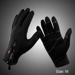 2Pcs FLL Windstopper Softshell Outdoor Sports Full-finger Gloves for Winter Riding Cycling Racing - BLACK