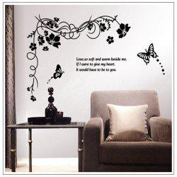 Peach Blossom and Butterfly Style Wall Sticker Home Appliances Decor Wall Decals -