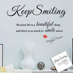 Keep Smiling Style Wall Sticker Home Appliances Decor Wall Decals -