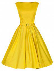 Vintage Boat Neck Solid Color Sleeveless Dress For Women -