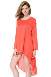 Long Sleeve Chiffon Asymmetrical Casual Flowy Dress
