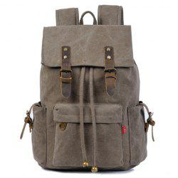 Preppy Buckles and String Design Men's Backpack - DEEP GRAY