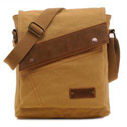 Trendy Rivets and Stitching Design Men's Messenger Bag - KHAKI