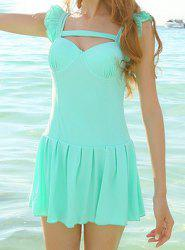 Trendy Style Square Neck Solid Color One-Piece Women's Swimsuit -