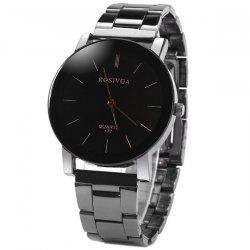 Rosivga 177 Quartz Watch with Stripes Indicate Stainless Steel Watchband for Men -