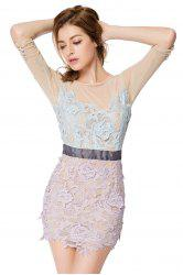 Trendy Style Round Collar 3/4 Sleeve Crochet Flower Splicing Slimming Women's Dress -