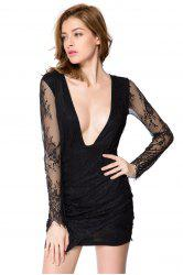 Sexy Style Long Sleeve Plunging Neck Solid Color Women's Lace Dress -