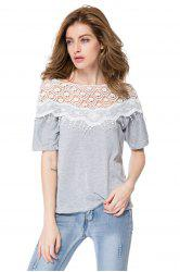 Lace Splicing 1/2 Sleeve Slash Neck Fringe Embellished Women's T-Shirt - GRAY