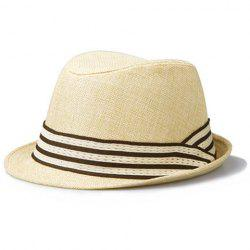 Chic Stripe Pattern Color Block Flanging Fedora For Men