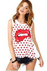 Red Lip Polka Dot Print Tank Top