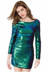 Short Glitter Sequin Club Dress with Sleeves -