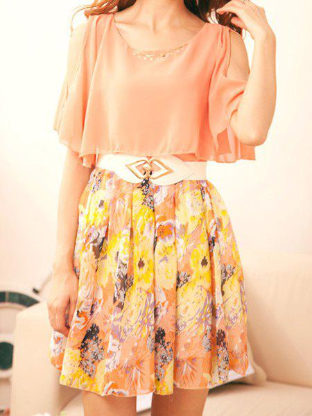 Chic Sweet Scoop Neck Off-The-Shoulder Floral Print Short Sleeve Chiffon Dress with Belt For Women