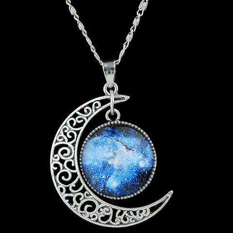 Artificial Gem Moon Round Pendant NecklaceJEWELRY<br><br>Color: BLUE; Item Type: Pendant Necklace; Gender: For Women; Metal Type: Alloy; Style: Trendy; Shape/Pattern: Moon; Length: 46.8CM; Weight: 0.033kg; Package Contents: 1 x Necklace;