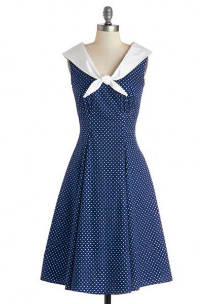 Buy Vintage Sailor Collar Sleeveless Polka Dot Dress For Women