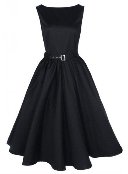 Cheap Vintage Boat Neck Solid Color Sleeveless Dress For Women
