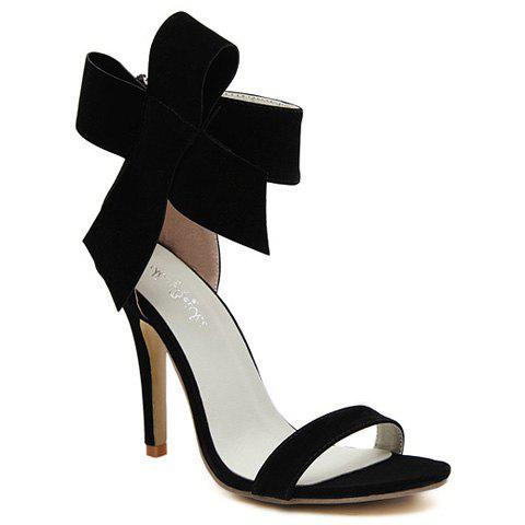 Sale Graceful Suede and Bowknot Design Women's Sandals