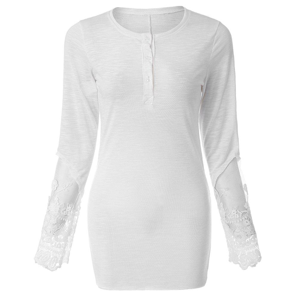 1f1820e85cd Best Stylish Scoop Collar Long Sleeve Solid Color See-Through Women s T- Shirt