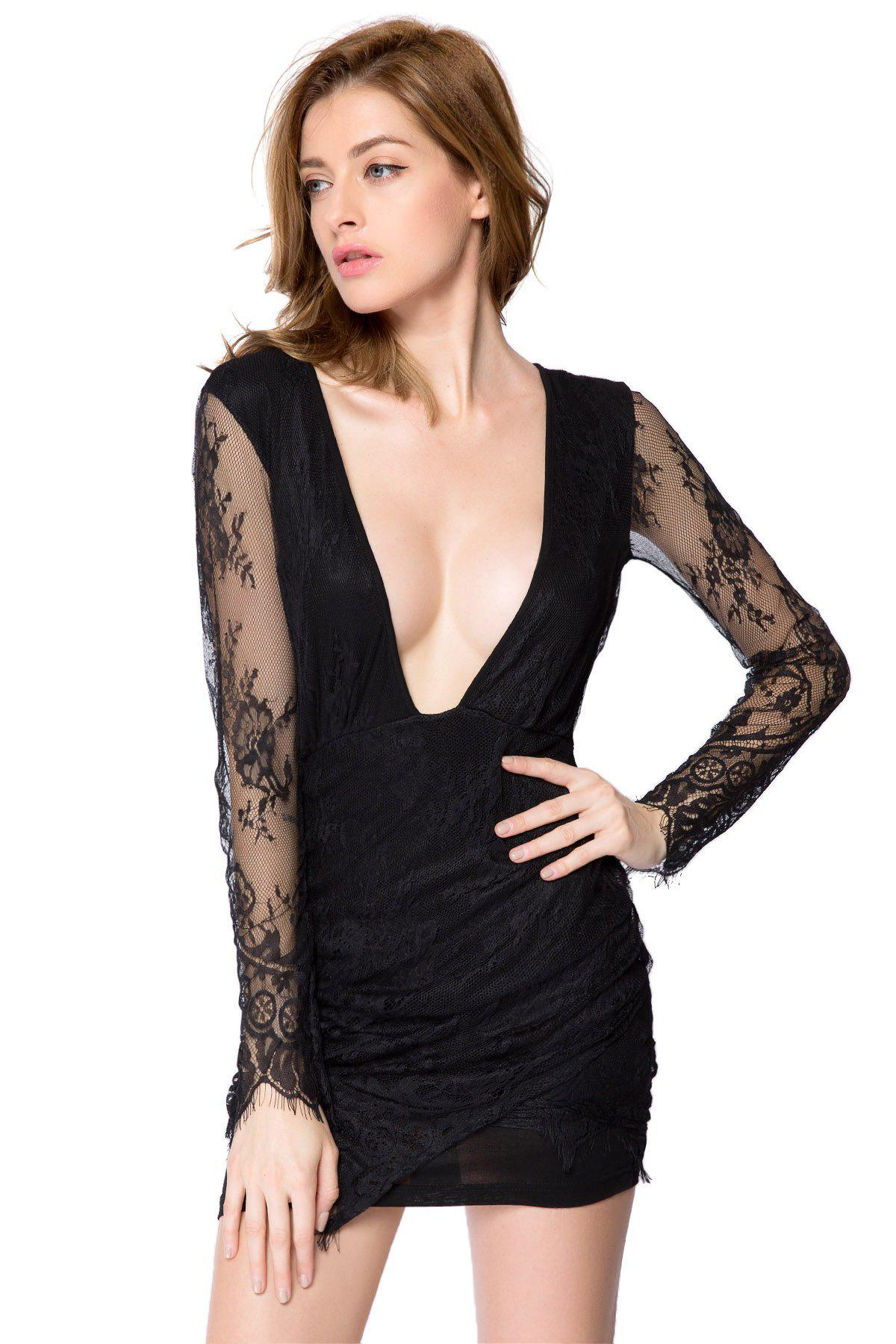 Best Sexy Style Long Sleeve Plunging Neck Solid Color Women's Lace Dress