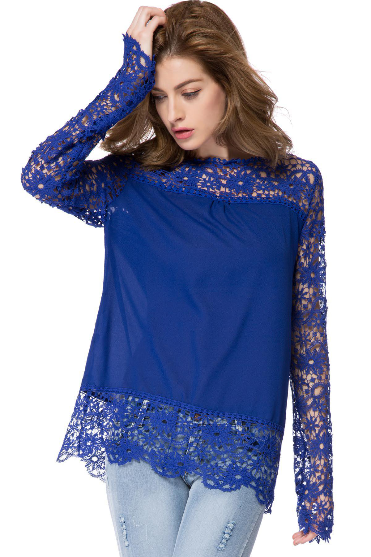 Stylish Round Neck Long Sleeve Spliced Hollow Out Women's Blouse