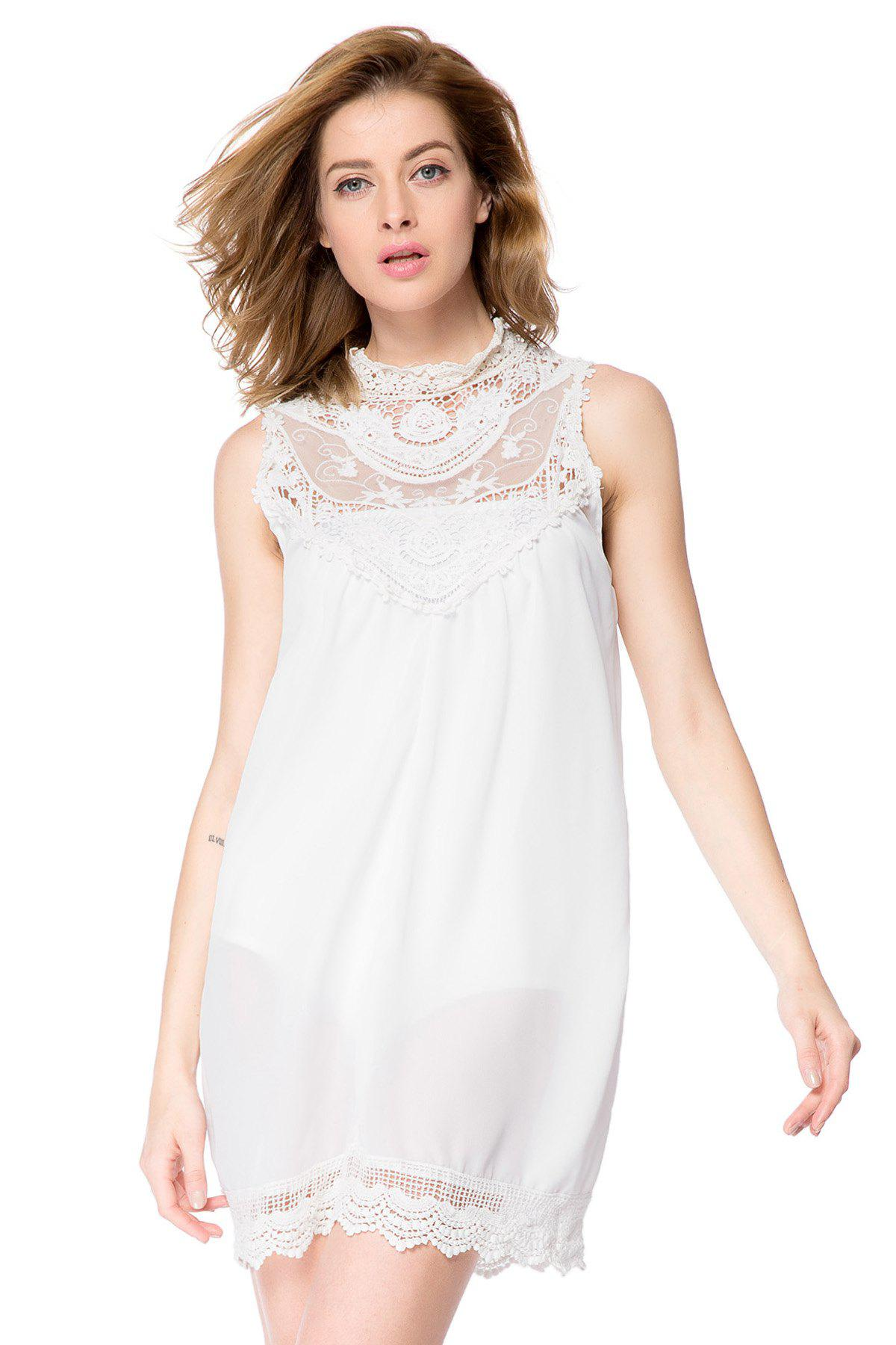Fashion Turtle Neck Short Sleeveless Lace Dress