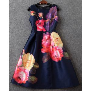 Vintage Scoop Neck High Waist Sleeveless Floral Print Dress For Women