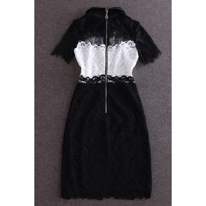 Vintage Peter Pan Collar Short Sleeves Color Splicing Lace Dress For Women -