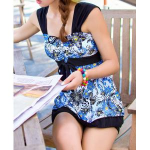 Stylish Sweetheart Neck Sleeveless Printed Women's Swimwear -