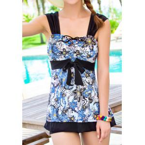 Stylish Sweetheart Neck Sleeveless Printed Women's Swimwear