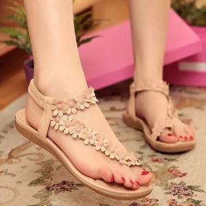 Sweet Elastic and Flowers Design Women's Sandals -