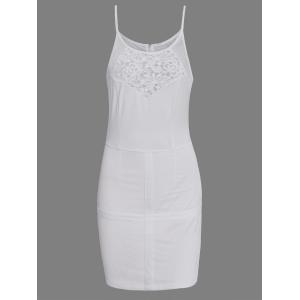 Hollow Out Bodycon Dress With Lace Insert - White - S