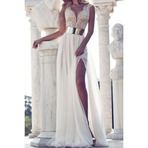 Elegant Plunging Neck Sleeveless Lace Splicing Slit Long Dress For Women - Off-white - S