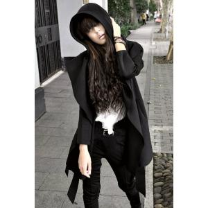 Stylish Long Sleeves Solid Color Belt Hooded Trench Coat For Women - Black - L