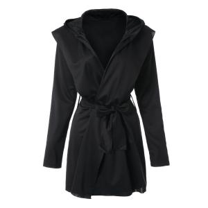 Stylish Long Sleeves Solid Color Belt Hooded Trench Coat For Women -