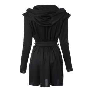 Stylish Long Sleeves Solid Color Belt Hooded Trench Coat For Women - BLACK M
